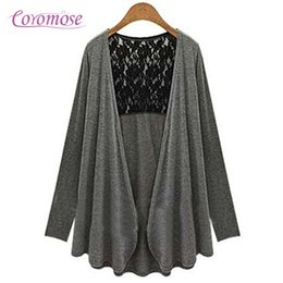 Wholesale Types Women Sweaters - Wholesale-2016 New Fashion Women Casual Knitted Sweater Long Sleeve Large Size Open Type Lace Cardigan Overcoat Black