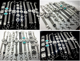 Wholesale 18mm chain - New 10PCs pack assorted mixed styles interchangeable 18mm women's vintage DIY snap charm button cuff bracelets noosa style Jewelry