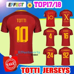 Wholesale Embroidery Men Shirts - TOP 17 18 Rome soccer TOTTI DZEKO Men Sports Embroidery DE ROSSI Jersey 2017 2018 ROMAS EL SHAARAWY NAINGGOLAN Football shirt Big Size XXL