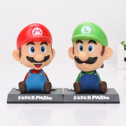 Wholesale Mario Ornaments - 2pcs lot 14cm Super Mario Bros Mario Luigi Bobble Head PVC Figure Toy Doll Car Ornament Model Toys gifts