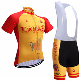 Wholesale Spain Cycling - 2017 SPAIN Cycling Jerseys bib shorts set Bicycle Breathable sport wear cycling clothes Bicycle Clothing Lycra summer MTB Bike White & Brown