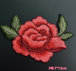 Coser 3d flores online-3D Rose Peony flor Applique bordado de tela Paste Peony flor decoración parches coser en parches ropa 13x7cm 5pcs En stock