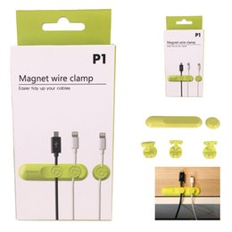 Wholesale Magnetic Wire Wholesalers - Hot Sell Multifunction Earphone Headphone Cord Winder USB Cable Holder Magnetic Organizer Gather Clips Magnet Wire Clamp Colorful
