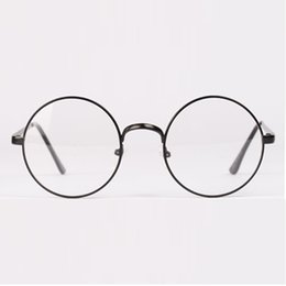 Wholesale nerd frames - Wholesale- Unisex Men Women Retro Round Metal Frame Nerd Glasses Clear Lens Eyewear