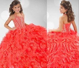 Wholesale Royal Nails - 2017 children fashion pageant dresses watermelon red ball gown dress skirt of bitter fleabane bitter fleabane skirt nail bead girl QW569