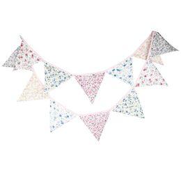 fondo de la bandera Rebajas Vintage Flower Children Room triángulo de algodón decoración de la bandera de fondo Triángulo del empavesado Wedding Party Room Banner decoración