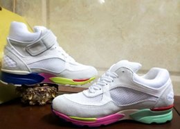 Wholesale Thick Soled Running Shoes - Brand Style 2017 4 Seasons White Genuine Leather Women Thick Rainbow Soled Running Travel Casual Shoes CH-004