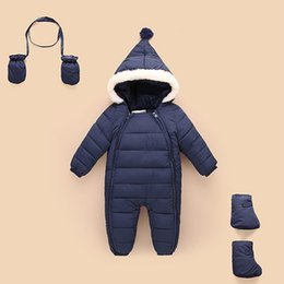 Wholesale Warm Baby Snowsuit - Down Cotton Baby Rompers Winter Thick Boys Costume Girls Warm Infant Snowsuit Kid Jumpsuit Children Outerwear Baby Wear