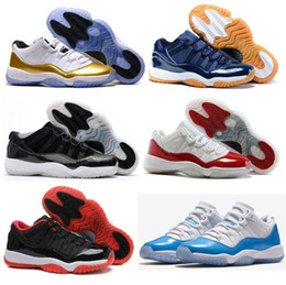 Wholesale Gum Shoes - High Quality Retro 11 Low Closing Ceremony Navy Gum Basketball Shoes Men Women 11s Barons Varsity Red Bred Legend Blue Sneakers With Box