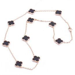 Wholesale Clover Sweater - New arrival Top quality 316L Titanium steel sweater Necklace with 10pcs clover in nature stone women jewelry brand PS5064
