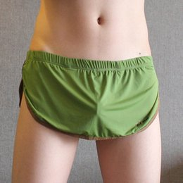 Wholesale Short Dress Sleeping - New Design Mens Boxer Underwear With Jock pouch Men Home dress lounge wear Sleep sexy Shorts with Thong soft material Panties