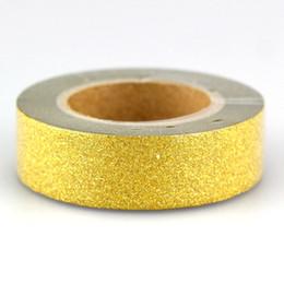 Nastro adesivo oro online-All'ingrosso- 2016 44 modelli 10pcs / lot all'ingrosso autoadesivo decorativo glitter nastro oro Scrapbooking Washi Tape Photo Album di cancelleria