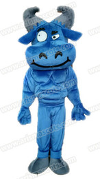 Wholesale Bull Costumes - AM9224 Blue Bull mascot costume, party dress, custom animal mascot suit
