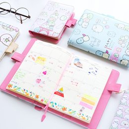 Wholesale Wholesale Book Binding Supplies - Wholesale- A5 B6 Cute Molang Notebook Weekly Monthly Planner Calendar Kawaii Stationery Agenda Book School Office Supplies Gift For Girls
