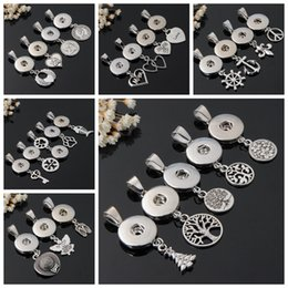 Wholesale White Mixed Christmas Tree - Mix 25 Styles Life Tree Love Mom Animal Cross Navy Anchor Mermaid Charms Necklace Pendant Fit DIY 18 mm Snap Buttons Jewelry