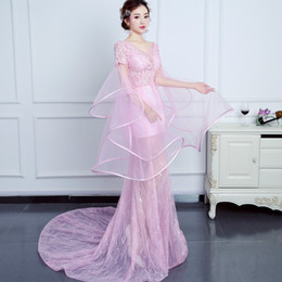 Wholesale Embroidery Tulle Mermaid - Elegant Prom Dress 2017 Sweet Pink V Neck Lace Up Back Lace Tulle Sweep Train Mermaid Long Sleeves Lllusion Neck Party Evening Dress