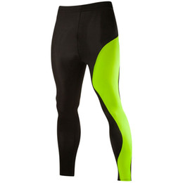 Wholesale Wholesale Compression Tights - Wholesale-Bi-color Patchwork Mens Compression Tights Pants 2XL Trousers Brand Mens Joggers Sweatpants Clothing