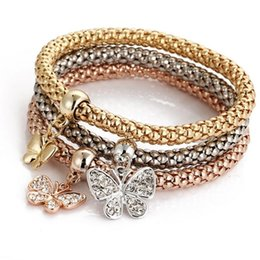 Wholesale Korean Fashion Jewelry Bracelet - Korean fashion love bracelet three layer gold charms snap jewelry women slides butterfly charm bracelets drop shipping