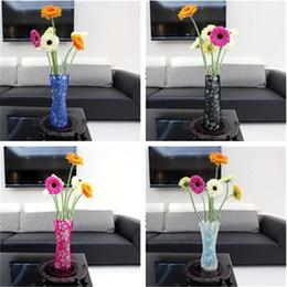 Wholesale Modern Tabletop Decor - Modern fashion home furnishings Foldable Reusable Plastic Vase Creative Folding Vase Mix Color Home Decor IA553