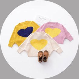 Wholesale Wholesale Heart Jumpers - In stock 3 color INS styles new arrival Girl cotton knitted heart design Cotton wool Pullover kids spring autumn girl casual cute Pullover