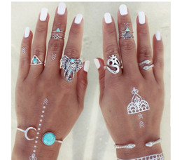 Wholesale Vintage Elephant Ring - idealway 8Pcs set Bohemian Style Vintage Silver Plated Elephant sets Triangle Nail Midi Rings 12set lot