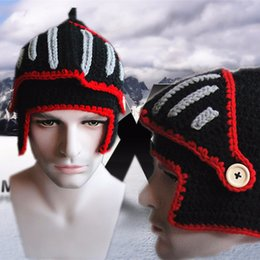Wholesale Handmade Crochet Beanie - New 2016 Winter Roman Knight Helmet Hats Unisex Handmade Knitted Crochet Gladiator Mask Windproof Snowboard Beanies Hat