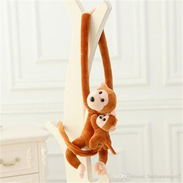 Wholesale Monkey Lovely - J068 New Arrival Lovely 70cm Son On Mother's Back Long Arm Tail Animal Monkey Stuffed Doll Plush Toys Curtain Buckle Wholesale
