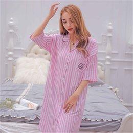 Wholesale Taking Weave - Summer Fringe Cartoon Short Sleeved Woven Cotton Cardigan Tshirt Lapel Nightgown Skirt Size Loose Pajamas Household To Take