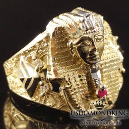 Wholesale Egyptian Rings - MEN'S 100% 10K REAL YELLOW GOLD EGYPTIAN KING TUT PHARAOH RING BAND 4.7 GRAMS