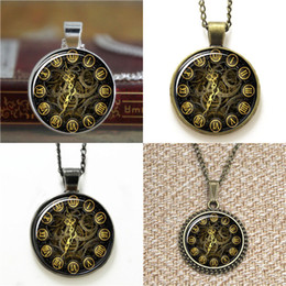 Ingranaggi orologio online-10pz Steampunk gears golden clock steampunk clock Glass Photo Collana portachiavi segnalibro gemello braccialetto orecchino
