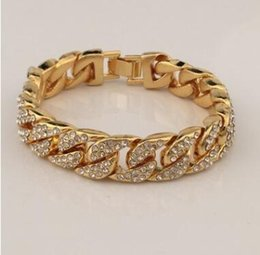Wholesale Hip Mens Bracelets - 2018 18K Gold Plated Men Charm Simulated Diamond Miami Cuban Bracelets Iced Out Bling Rhinestone Chains Hip Hop Jewelry mens jewerly