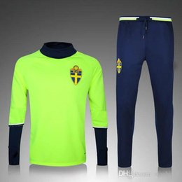 Wholesale C Leggings - The Sweden quality training 2016 2017 new Swedish green and blue suit uniform 16 17 C football training suit Survetement sleeved leggings