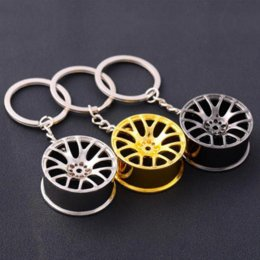 Wholesale Keychain Cool - New Design Cool Luxury metal Keychain Car Key Chain Key Ring creative wheel hub chain For Man Women Gift