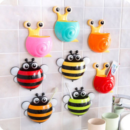 Wholesale Toothbrush Holders Suction Cups - Toothbrush Holder Cute Cartoon Bee And Snail Shape Three Sucker Powerful Suction Cup Toothpaste Rack Nice Pattern 4 2zx F R