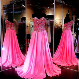 Wholesale Chiffon Sweetheart Bling Long Dress - Pink Bling Chiffon Sexy 2016 Prom Dresses Long Formal Evening Gowns Sweetheart 2017 Split Side Prom Party Dresses With Crystal Beaded Sequin