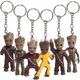 Wholesale Galaxy Keychain - 2017 new Guardians of the Galaxy Action Figures cartoon Groot Key ring Pendant 7.5cm 3inches Keychain