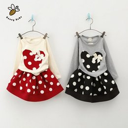 Wholesale Rosette Children Skirt - Wholesale- Cute Mouse Girls Outfits Polka Dot Children Clothing Cotton Kids Girl Clothes Rosette Baby Girl T-shirts Skirts Clothing Sets