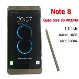 Wholesale Note 8gb - DHL free shipping New goophone note 8 MTK6580A 5.7inch Quad core 3G WCDMA Android6.0 cellphone RAM 1GB ROM 8GB rom show 4g lte Smart phones