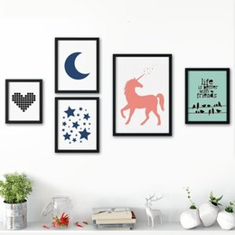 Wholesale Horse Wall Paint Modern - Wholesale Wall Art Canvas Poster Nordic Modern Minimalism Horse Love Star Canvas Painting Wall Painting Wall Pictures Kids Room Home Decor