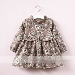 Wholesale Korean Summer Clothes Fashion Wholesale - Everweekend Girls Floral Print Ruffles Tees Cute Baby Blue and Brown Color Clothes Lovely Kids Korean Fashion Autumn Cotton Tops