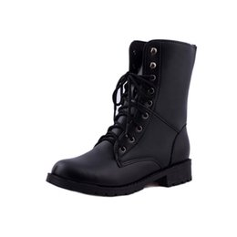 Wholesale Ladies Rubber Boots Designs - Wholesale- 2016 Martin Boots Women Autumn Shoes PU leather Lace up Casual Men Ankle Boots British Design Botas Mujer Ladies Black Shoes