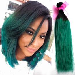 Ombre capelli brasiliani verdi online-All'ingrosso-Ombre 2 Tone 1B tessuto verde dei capelli vergini brasiliani remy estensioni dei capelli umani 3 pacchi di seta dritto ombre verde tessitura dei capelli