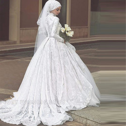tulle dress hijab Coupons - Vintage White Lace Muslim Hijab Wedding Dresses Tulle High Neck Ball Gown Wedding Dress Long Sleeve Bridal Gowns