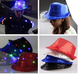 Wholesale Lighted Wholesale Fedora - LED Jazz Hats Flashing Light Up Led Fedora Trilby Sequins Caps Fancy Dress Dance Party Hats men Christmas Festival Carnival Costumes