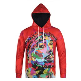 Wholesale Rap Hoodies - Wholesale- 2017 mens hoodie 3D hip hop star 2Pac Tupac American gangster rap sweatshirts hoodies Tupac Shakur hooded pullover tops
