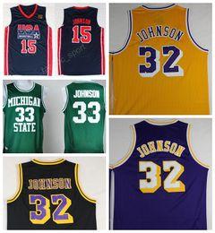 Wholesale Basketball Jersey Usa - Men 32 Magic Johnson Jersey Throwback Basketball Michigan State Spartans Johnson College Jersey 1992 USA Dream Team Hardwood Classics