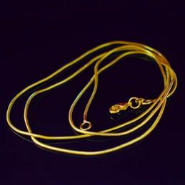 hornverschlüsse Rabatt 18 Karat vergoldete Schlangenkette Halskette für Frau Karabiner glatt 1,2 MM Kette Modeschmuck Größe 16 18 20 22 Zoll