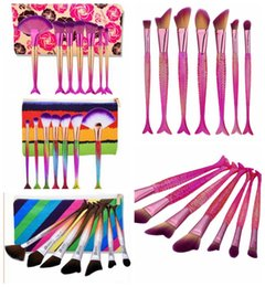 Wholesale Makeup Brush 7pcs Set - 7pcs 1 set S Mermaid Fish Tail Makeup Brush Eyeshadow Eyeliner Face Lip Cosmetics Foundation Powder Makeup Brush Sets with Bag KKA2848