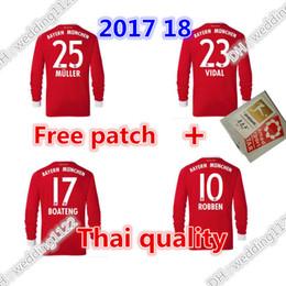 Wholesale Sports Sleeves - Wholesale prices top 2017 18 Long sleeve james soccer Jersey VIDAL COATA LEWANDOWSKI MULLER ROBBEN BOATENG Sports Full shirts Jerseys