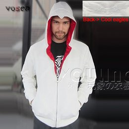 Wholesale Fleece Outlet - Wholesale-2016 Fashion Best Selling White Assassins Creed Hoodies Factory Outlet Brand Clothing Men Zipper Hoodie Cool Hooded Sweatshirt